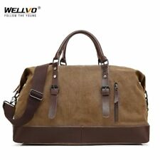 Canvas Leather Men Travel Bag Carry on Luggage Duffel Bags Large Travel Tote