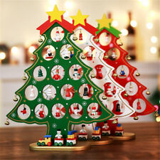 Christmas Wooden Tree Decor Party Table Desktop Decor Xmas Ornaments Kids Gifts