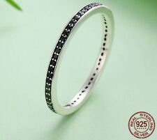 Sterling Silver Finger Stackable Fashion Jewelry Rings With Black CZ For Women