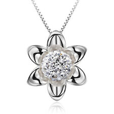 925 Sterling Silver Pendant Necklace Crystal Ball Pearl Flower For Women Jewelry