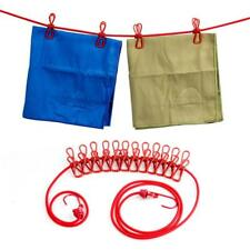 Portable Travel Stretchy Outdoor Camping Windproof Clothes Line 12 Clamp Clips