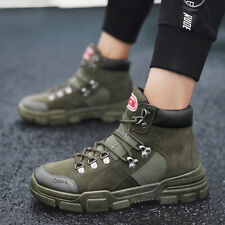 Men's Canvas Work Ankle Boots Military Combat Patrol Martin Shoes Breathable New