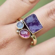 Gold Plated Row Amethyst,Tourmaline,Aquamarine Ring,Brass Multi Stone Ring Girls