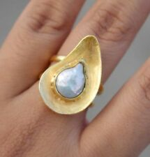 Brass South Sea Pearl Designer Ring,Gold Plated Ring,Pearl Ring,Handmade Ring