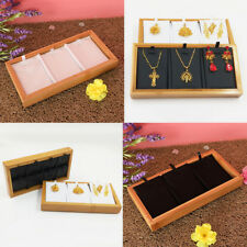 Natural Bamboo 3 Compartment Box Jewelry Storage Display Tray 22x11x2.5cm