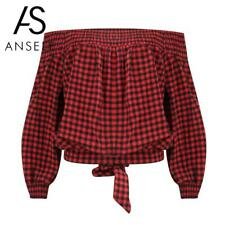 Anself Women Tops and Blouses Plaid Print Off Shoulder Strapless ladies tops