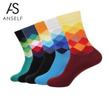 5 Pairs of Mixed Color Men Cotton Socks Diamond Shaped Middle Tube Breathable