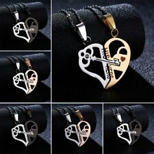 Lettering Couple Hollow Heart Love Crystal Splice Pendant Necklace Chain Jewelry