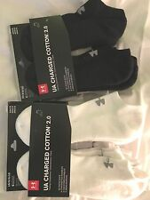 Under Armour No Show Ankle, Quarter, Crew Socks, L M XL Black  White  Gray