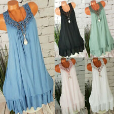 Women Ladies Casual Solid Lace Splice Sleeveless Loose Shirt Hollow Blouse Tops