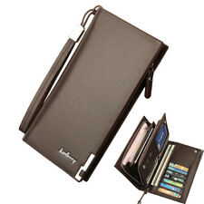 Men's Bifold Leather Zip Long Wallet ID Credit Card Holder Clutch Handbag Purse