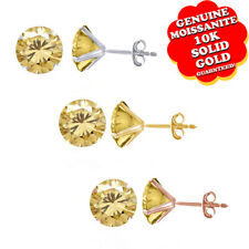 3/4Ct Round Cut Genuine Golden Moissanite 10K Yellow Gold Solitaire Stud Earring