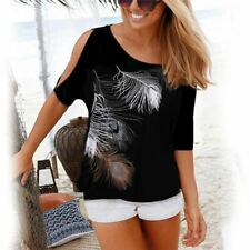 Women Shirt Casual Summer Blouse Short Sleeve Loose Tops Cold Shoulder Feather P