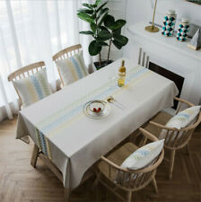Tablecloth Heavy Weight Cotton Linen Fabric Dust-Proof Table Cover