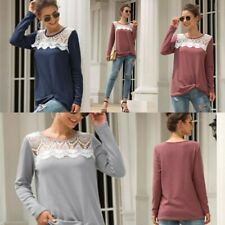 Long Sleeve Loose Blouse Casual Shirt Top Pullover T-Shirt Lace Womens Floral