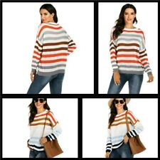 Knitted Long Sleeve Striped Casual Pullover Blouse Knit Shirt Women's Sweater