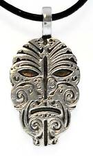 MAORI MASK Silver Pewter Pendant Leather Necklace