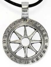 WHEEL OF LIFE BUDDHISM Silver Pewter Pendant Leather