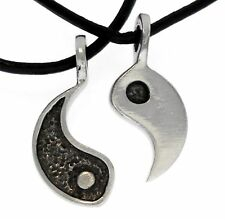YIN YANG 2 PIECE Silver Pewter Pendant Leather Surfer