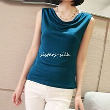 WOMENS GIRLS 100% PURE SILK KNITTED TANK TOP CAMISOLE BLOUSEB T SHIRT WIDE STRAP