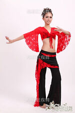 Sexy Belly Dance Lace Costume Lace Top & Tribal Pants with Lace Skirt 9 Colours