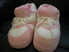Happy Feet Slippers, Pink and White Color, Sizes Kids Small, and Adult X-Large
