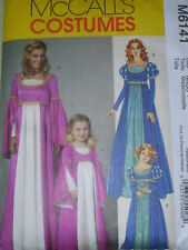 McCALL'S #M6141-LADIES~GIRLS RENAISSANCE GOWN w/ TRUMPET SLEEVES COSTUME PATTERN