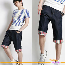New Men's Summer Casual Jeans Denim Plaid Shorts/Pants