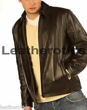 GENTS JACKET GENUINE LEATHER PLAIN PURE CLASSIC STYLE SOFT NAPPA SKINS