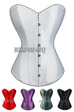 White Bridal Satin CORSET Bustier Wedding NEW SZ S-6XL A074