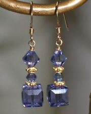 Purple 14K Gold Filled Crystal Cube Earrings Made with Swarovski Elements