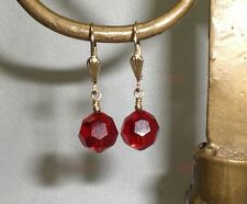 Crystal Red 10mm 14K G.F. Leverback Earrings Made With Swarovski Elements