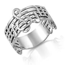 Music Note Symphony Silver Band Ring ,Sterling Silver Sizes 1 - 14