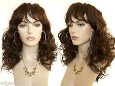 Layers and Bangs Medium Blonde Brunette Red Loose Curls Skin Top Wigs