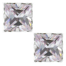 CZ Square Princess Cut Lavender Magnetic Sterling Silver Basket Stud Earrings