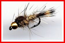 Bead Head Gold Ribbed Hares Ear Nymph - Twelve Fly Fishing Nymph Flies