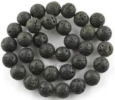 natural Black Volcanic Lava Stone Round Beads 15'' 4mm 6mm 8mm 10mm 12mm 14mm