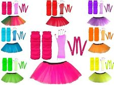 NEON UV TUTU GLOVES LEG WARMERS BRACES 1980S FANCY DRESS ALL SIZES