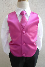 BOY'S SOLID FUCHSIA/HOT PINK  VEST NECK TIES / BOW TIES TUXEDO & SUIT 2 - 16