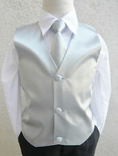 BOY'S SOLID SILVER GREY VEST NECK TIES / BOW TIES TO MATCH TUXEDO & SUIT 2 - 16