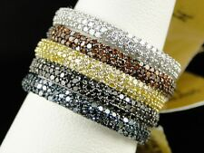 LADIES WOMENS STACKABLE RED WHITE YELLOW BLACK DIAMOND FASHION WEDDING BAND RING