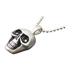 Stainless Steel CZ Skull Head Pendant and Beaded Ball Chain Necklace 24""