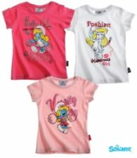 New Girls Smurfs Short Sleeve Tshirt Top Smurf T-Shirt Age 3-10 Years