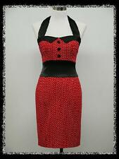 dress190 RED POLKA DOT PENCIL WIGGLE 40s 50s 60s ROCKABILLY PARTY VINTAGE DRESS