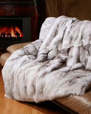 Premium Full Pelt Fur Blankets - Blue Fox Throw Queen and King Size