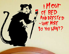 Fun contemporary fab wall vinyl sticker Banksy  Im Out Of Bed wall sticker