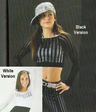 STREET WISE Pick BLACK or WHITE MESH TOP Dance Costume One Size Fits Most NEW