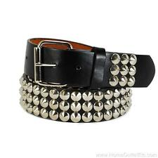 3-Row Metal Round Cone Stud Leather Belt Spike Unisex Womens Punk Rock Goth Emo