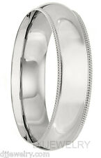 6mm 18K White Gold S7-7.75 Milgrain Comfort Fit 1.5mm Thick Wedding Band Ring