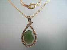 Nature Taiwan jade pendant in rose gold plated w/ ; not w/ 14k gold filled chain